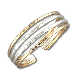 Sterling Silver and 12 Karat Gold Filled Two-tone Adjustable 4 Wire Band Toe Ring