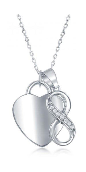 Sterling Silver 16 to 18 inch Adj Heart and Pave Cubic Zirconia Infinity Knot Pendant Necklace