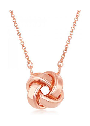 Sterling Silver 16 to 18 inch Adj Rose Gold Color Love Knot Necklace