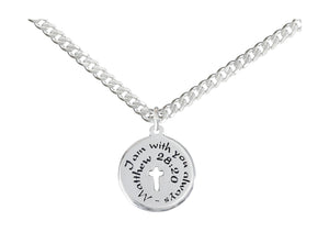 "Sterling Silver 20 inch ""I Am with You Always Matthew 28:20"" Cross Pendant Necklace"
