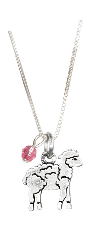 Sterling Silver 16 inch Baby Lamb Pendant Necklace with Rose Pink Swarovski Crystal