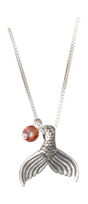 Sterling Silver 18 inch Mermaid's Tail Pendant Necklace with Apricot Glass Bead