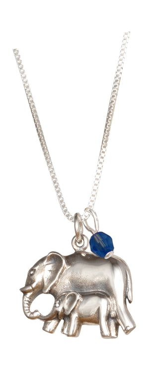 Sterling Silver 18 inch Mother and Baby Elephant Pendant Necklace with Blue Crystal