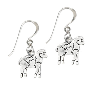 Sterling Silver Baby Lamb Dangle Earrings on French Wires