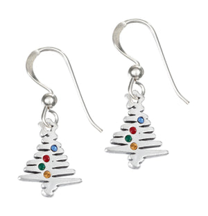 Sterling Silver Christmas Tree with Multi Color Swarovski Crystals Dangle Earrings