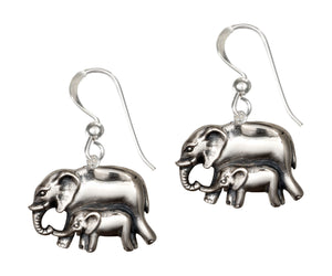 Sterling Silver Mother and Baby Elephant Dangle Earrings on French Wires