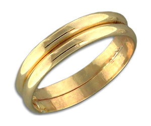 12 Karat Gold Filled Double Band Wedding Band Ring