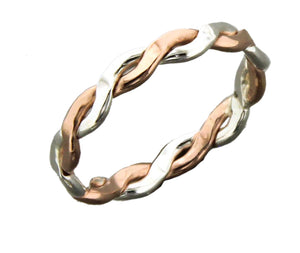 Sterling Silver and 12 Karat Rose Gold Filled Serpentine Band Wire Ring