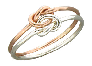 Sterling Silver and 12 Karat Rose Gold Filled Medium Gauge Double Love Knot Ring