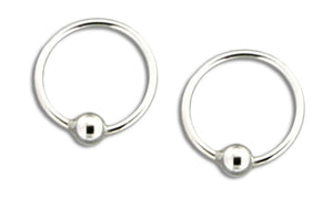 Sterling Silver 10mm Ball Hoop Earrings
