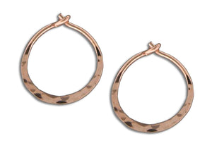 12 Karat Rose Gold Filled 13mm Hammered Hoop Earrings
