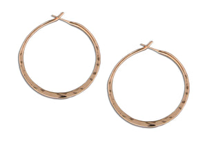 12 Karat Rose Gold Filled 25mm Hammered Hoop Earrings