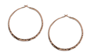 12 Karat Rose Gold Filled 31mm Hammered Hoop Earrings