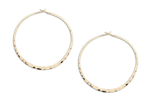 12 Karat Gold Filled 41mm Hammered Hoop Earrings