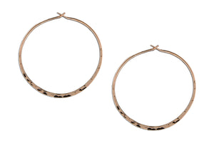 12 Karat Rose Gold Filled 41mm Hammered Hoop Earrings
