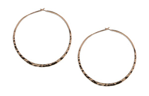 12 Karat Rose Gold Filled 48mm Hammered Hoop Earrings