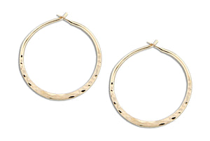 12 Karat Gold Filled 25mm Hammered Hoop Earrings