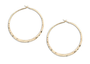 12 Karat Gold Filled 31mm Hammered Hoop Earrings