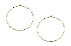 12 Karat Gold Filled 40mm Wire Hoop Earrings