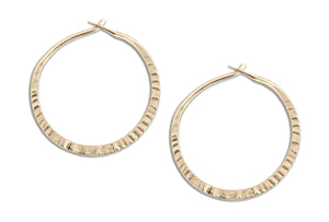 12 Karat Gold Filled 24mm Cross Peen Hoop Earrings