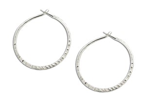 Sterling Silver 24mm Cross Peen Hoop Earrings
