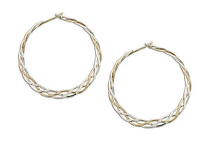 Sterling Silver and 12 Karat Gold Filled 31mm Flat Celtic Weave Hoop Earrings
