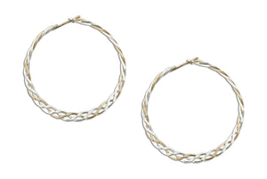 Sterling Silver and 12 Karat Gold Filled 37mm Flat Celtic Weave Hoop Earrings