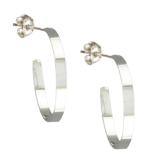 Sterling Silver 3mm Wide Round Post Hoop Earrings