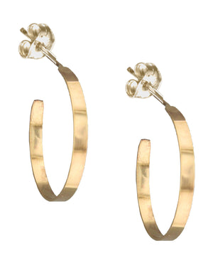 12 Karat Gold Filled 3mm Wide Round Post Hoop Earrings