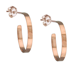 12 Karat Rose Gold Filled 3mm Wide Round Post Hoop Earrings
