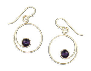 12 Karat Gold Filled Swirl Dangle Earrings with Amethyst Bead