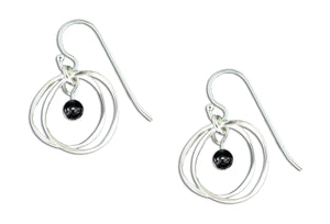 Sterling Silver Double Dangle Circle Earrings with Synthetic Hematite Bead