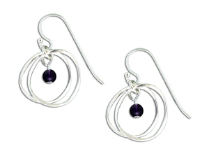Sterling Silver Double Dangle Circle Earrings with Amethyst Bead
