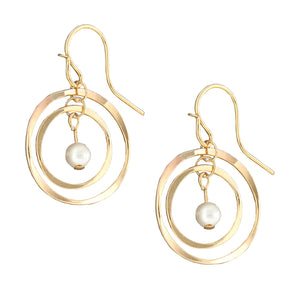 12 Karat Gold Filled Circle Within Circle Earrings Freshwater Pearl
