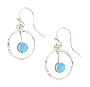 Sterling Silver Circle Dangle Earrings with Aqua Cabochon Dangle