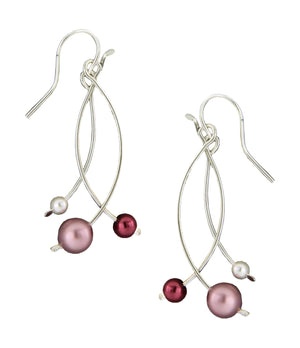 Sterling Silver Triple Curved Bar Dangle Earrings with Pink & White Faux Pearls