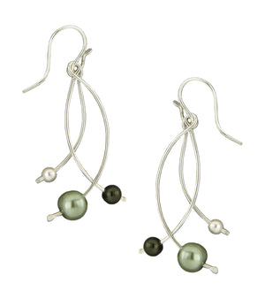 Sterling Silver Triple Curved Bar Dangle Earrings with Green & White Faux Pearls