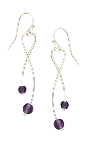 Sterling Silver Crossed Tassel Earrings with Amethyst Beads