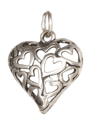Sterling Silver Open Multi Heart Puffed Heart