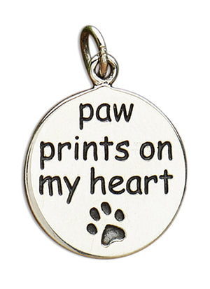 "Sterling Silver Round ""Paw Prints on My Heart"" Charm Pendant with Paw Print Design"