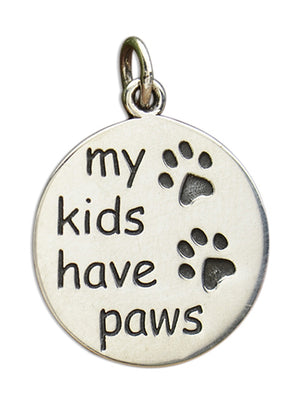 "Sterling Silver Round ""My Kids Have Paws"" Charm Pendant with Paw Print Design"