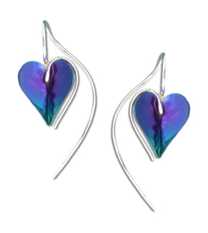 Sterling Silver and Niobium Heart Earrings with Flowing Ear Wire