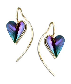 12 Karat Gold Filled Wire Earrings with Niobium Heart