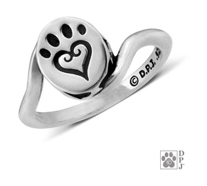Sterling Silver Etched in My Heart Ring with Scrolled Heart Paw Print and Wrap Shank
