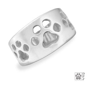 Sterling Silver Wide Band Paw Ring with Triple Open Paw Print Design