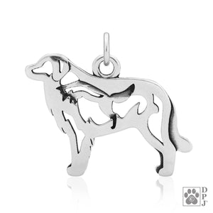 Sterling Silver Great Pyrenees Dog Pendant with Fox in Body