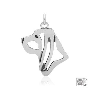 Sterling Silver Bloodhound Dog Head Pendant