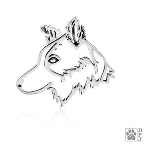 Sterling Silver Large Border Collie Dog Head Pendant