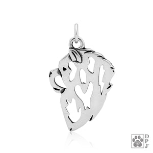 Sterling Silver Chow Chow Dog Head Pendant