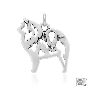 Sterling Silver Chow Chow Dog Pendant Charm